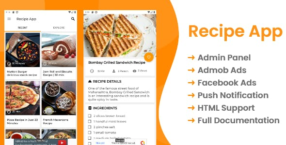 Recipe App with Admin panel and Admob ads , Facebook ads