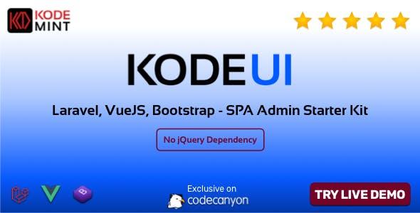 KodeUI - Laravel, VueJS, Bootstrap, SPA Admin Starter Kit