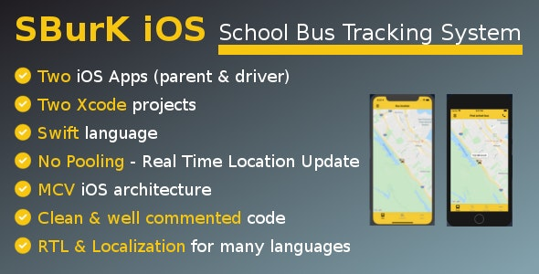 SBurK iOS - School Bus Tracker iOS apps - Two iOS Apps for parents and drivers - CodeCanyon Item for Sale