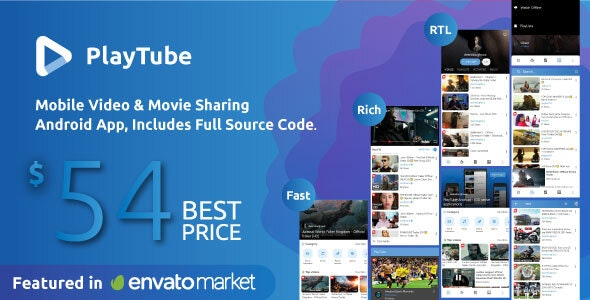PlayTube - Mobile Video & Movie Sharing Android Native Application (Import / Upload) - CodeCanyon Item for Sale