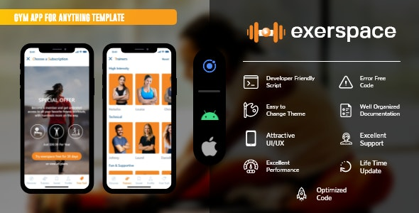 gym app templates for android and iOS using Ionic 5 - CodeCanyon Item for Sale