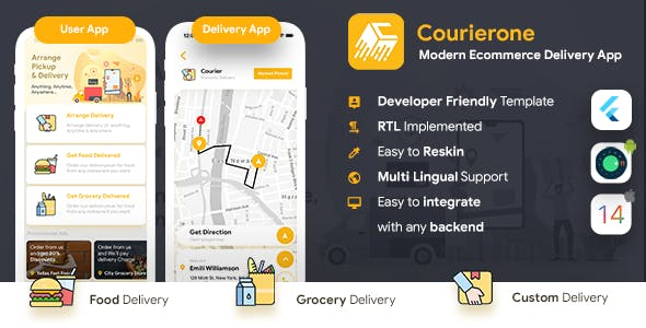 Courier Delivery App |Custom Courier App |2 Apps User App+Delivery App |Flutter Template|Courierone