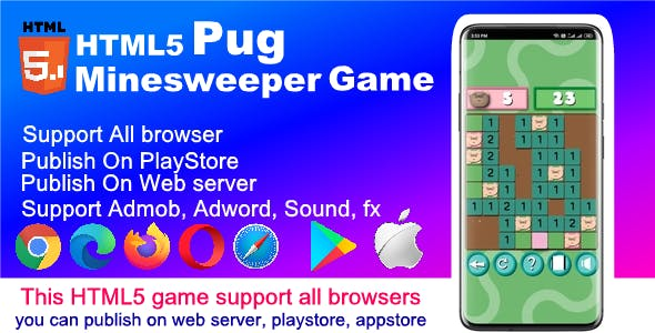HTML5 Pug Minesweeper Game ( Support android, iOS, computer browsers )