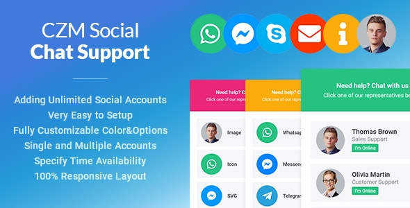 CZM Social Chat Support - jQuery Plugin - CodeCanyon Item for Sale