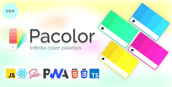 Pacolor - Infinite Color Palette Generator and Random made with React - CodeCanyon Item for Sale