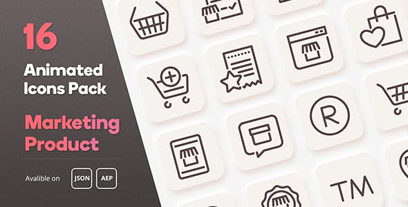 Marketing Product Animated Icons Pack - Lottie Json SVG