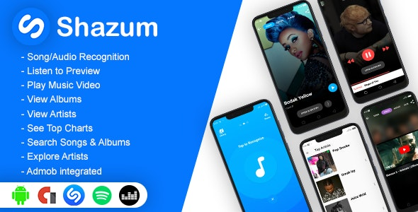 Shazum - Android app to Recognize Music, Discover Songs, Albums, Artists and Charts - CodeCanyon Item for Sale