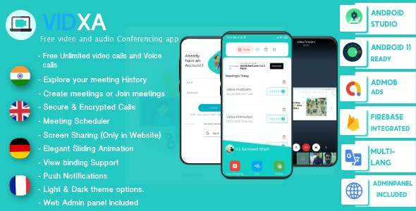 VIDXA (Android + Admin Panel)– Free Video Conferencing & Audio Conferencing App | Zoom Clone