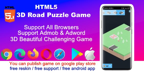 HTML5 3D Road Blocks Puzzle Game ( Support android, iOS, browsers )