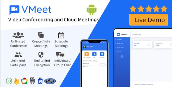 Vmeet - Video Conferencing & Meeting App (Android + Admin Panel) - CodeCanyon Item for Sale
