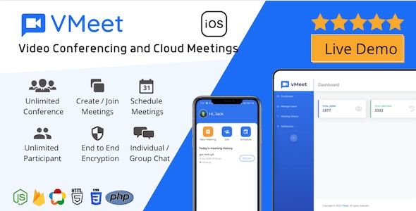 Vmeet - Video Conferencing & Meeting App (iOS + Admin Panel) - CodeCanyon Item for Sale
