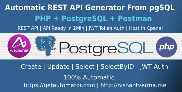 PostgreSQL to REST API Generator With JWT Token Authentication - PHP + Postman - CodeCanyon Item for Sale