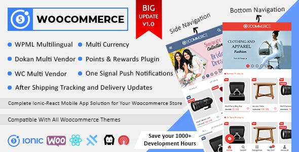 Ionic React Woocommerce - Universal Full Mobile App Solution for iOS & Android / Wordpress Plugins