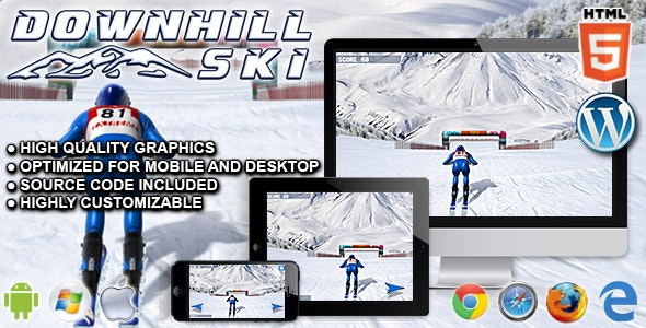 Downhill Ski - HTML5 Sport Game - CodeCanyon Item for Sale