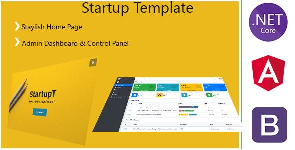StartupT - Angular 10 / .Net Core / User Management , SaaS  - Admin Panel & Stylish Home Page
