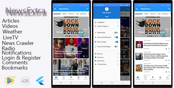 NewExtra Flutter App For Android & IOS - CodeCanyon Item for Sale