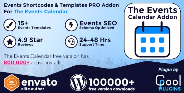 Events Shortcodes & Templates Pro Addon For The Events Calendar - CodeCanyon Item for Sale