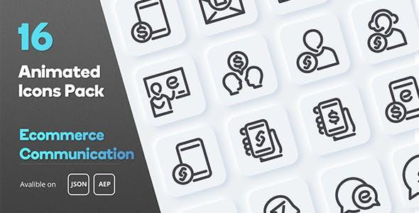 Ecommerce Communication Animated Icons Pack
