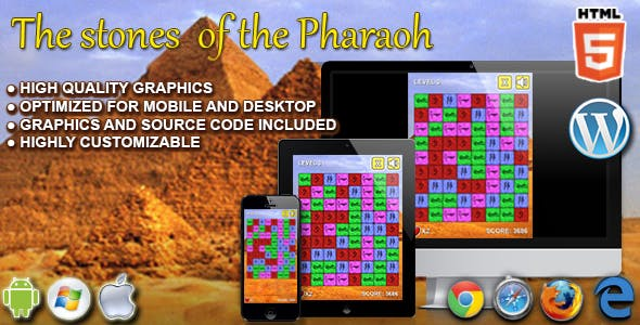 The Stone of the Pharaoh - HTML5 Match 3 Game
