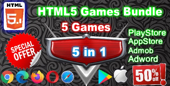 HTML5 Games Bundle of 5 beautiful games ( Support all browsers )