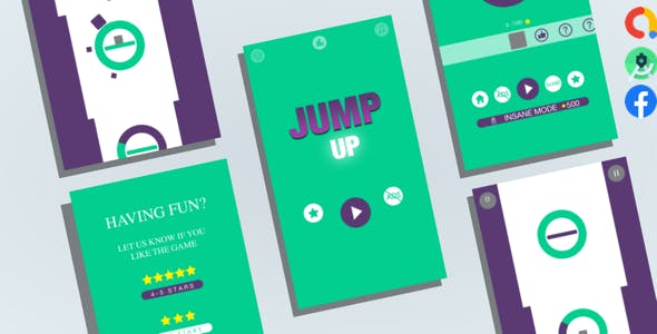 JumpUp: (Android Studio+Admob Reward Video+Facebook Ads+Inapp+Leaderboard+ready to publish)