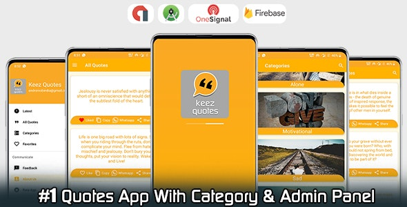 Keez - Android Quotes App WIth Category - Admin Panel - Admob - CodeCanyon Item for Sale