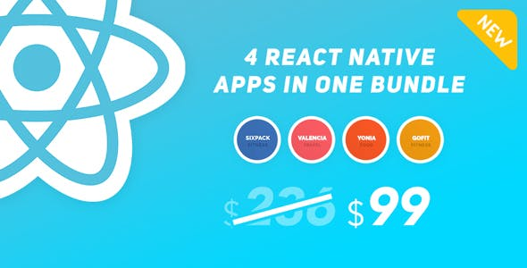 4 React Native Apps In One Bundle (Fitness, City Guide, Recipes)