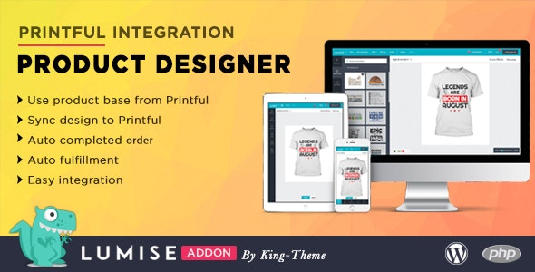 Printful Integration Addon For Lumise Product Designer By King Theme