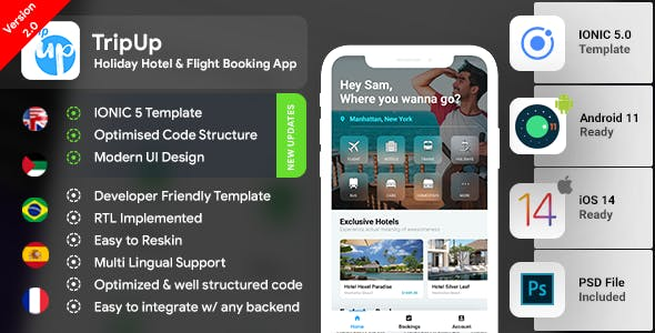 Flight Booking Android App + Flights iOS App Template| Hotel Booking App| IONIC 5| TripUp