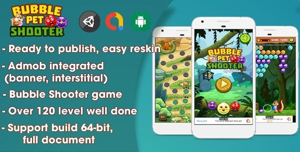 Bubble Shooter Pet - Unity Complete Project (Android + iOS + AdMob) - CodeCanyon Item for Sale