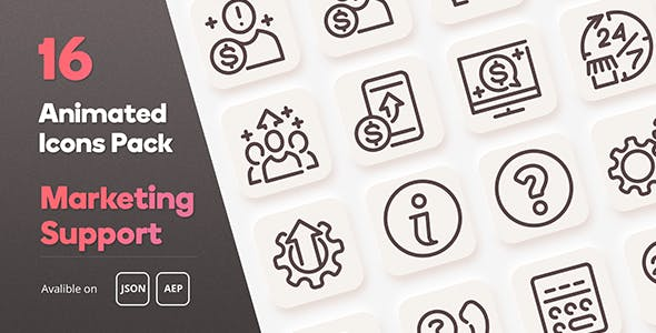 Marketing Support Animated Icons Pack - Lottie Json Animation SVG
