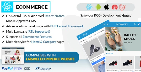 React Ecommerce - Universal iOS & Android Ecommerce / Store Full Mobile App with PHP Laravel CMS - CodeCanyon Item for Sale