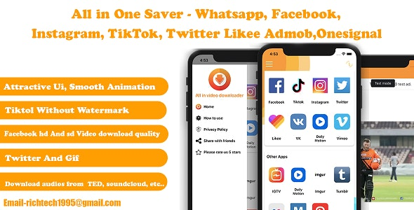 All in One Saver - Facebook, Instagram, TikTok, Twitter Likee Admob | IOS - CodeCanyon Item for Sale
