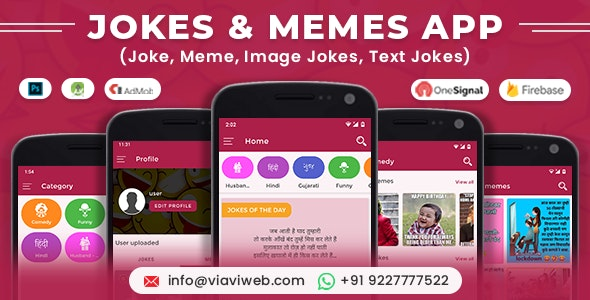 Android Jokes & Memes App (Joke, Meme, Image Jokes, Text Jokes) - CodeCanyon Item for Sale