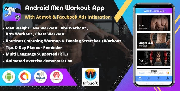 Android Men Workout at Home - Men Fitness App (lose Weight, arm workout, chest workout, abs workout) - CodeCanyon Item for Sale