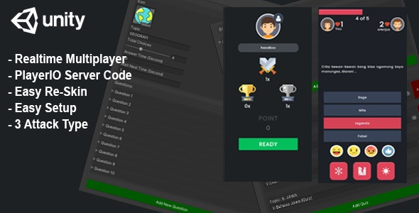 (Unity) Trivia Quiz Realtime Multiplayer + Server Code - Player.IO - CodeCanyon Item for Sale