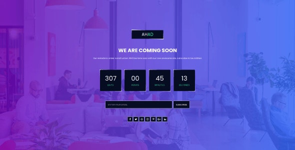 Ahad - Coming Soon Template - CodeCanyon Item for Sale