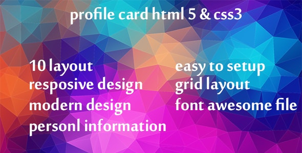 profile card html 5 & css3 - CodeCanyon Item for Sale