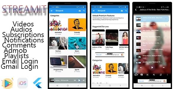 StreamIt - Audio & Video Streaming App for Android and IOS platforms. - CodeCanyon Item for Sale
