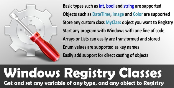 Windows Registry Classes - CodeCanyon Item for Sale