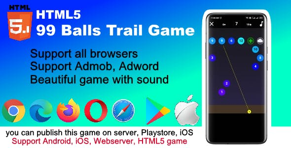 99 Trail ball HTML5 and mobile game ( Support Andoid, iOS, browser )