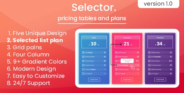 Selector - pricing tables and plans