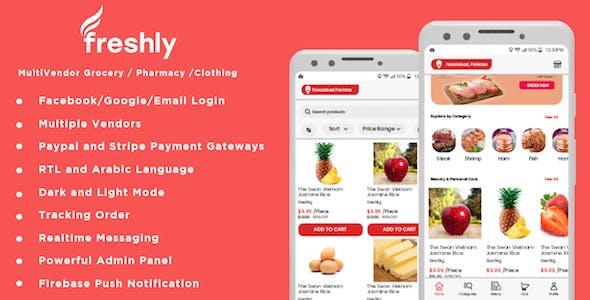 Freshly - Native Multi Vendor Grocery, Food, Pharmacy, Store Delivery Mobile App with Admin Panel