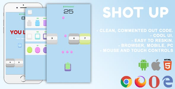 Shot Up. Mobile, Html5 Game. .c3p (Construct 3)