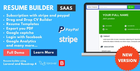 ResumeFaGo - Saas Resume and CV buider - CodeCanyon Item for Sale