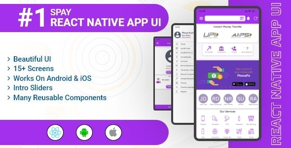 SPay - Digital Wallet & UPI Payments React Native App UI Template - CodeCanyon Item for Sale