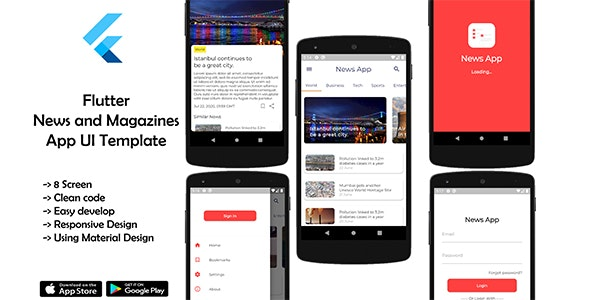 Flutter News and Magazines App UI - CodeCanyon Item for Sale
