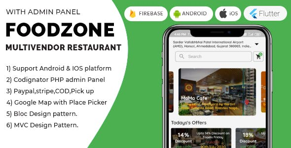 FoodZone Multivendor Mobile Application in Flutter with PHP Admin Panel + Multi Language Supports