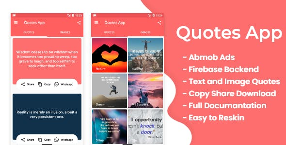 Quotes app with firebase backend and Admob ads