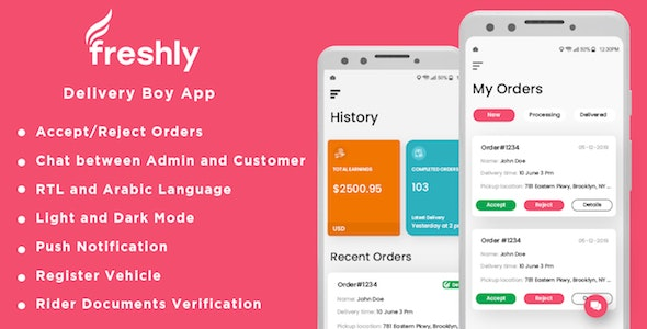 Freshly - Native Grocery Delivery Boy Android App - CodeCanyon Item for Sale